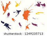 hand drawn set of colorful ink... | Shutterstock .eps vector #1249235713