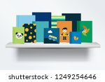 children  kids bookshelf. front ... | Shutterstock .eps vector #1249254646