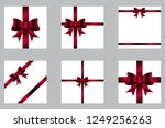 set of red bows with ribbons ... | Shutterstock .eps vector #1249256263