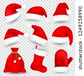 christmas santa claus hats with ... | Shutterstock .eps vector #1249258990