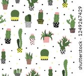 hand drawn cactus seamless... | Shutterstock .eps vector #1249267429