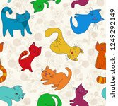 funny vivid colors cats.... | Shutterstock .eps vector #1249292149