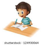 illustration of a boy writing... | Shutterstock .eps vector #124930064