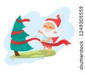 santa claus on surfboard...   Shutterstock .eps vector #1249305559