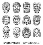 antique scary masks. ancient... | Shutterstock .eps vector #1249308013