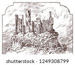 castle on a hill. ancient... | Shutterstock .eps vector #1249308799