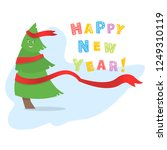 vector christmas tree on a... | Shutterstock .eps vector #1249310119