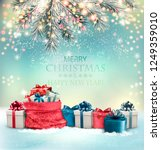 holiday christmas background... | Shutterstock .eps vector #1249359010