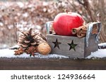 red apple with cinnamon and... | Shutterstock . vector #124936664