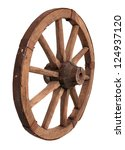 Old Wooden Wheel On The White...