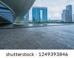 empty floor and city skyline...   Shutterstock . vector #1249393846
