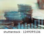 double exposure of graph and... | Shutterstock . vector #1249395136