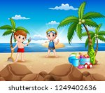 cartoon of two boy playing on... | Shutterstock .eps vector #1249402636