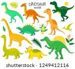 set of flat cartoon dinosaurs... | Shutterstock .eps vector #1249412116