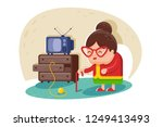 flat cute old lady with glasses ... | Shutterstock .eps vector #1249413493