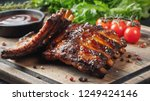 closeup of pork ribs grilled... | Shutterstock . vector #1249424146