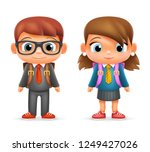 realistic school boy girl child ... | Shutterstock . vector #1249427026
