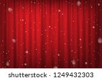 snowfall on red curtain... | Shutterstock .eps vector #1249432303