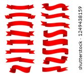 red shiny curved ribbons... | Shutterstock . vector #1249438159