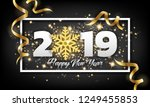2019 happy new year greeting... | Shutterstock .eps vector #1249455853