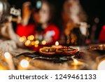 two little girls drinking tea... | Shutterstock . vector #1249461133