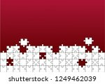 white details of puzzle on red... | Shutterstock .eps vector #1249462039