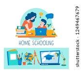 home schooling. mom helps the... | Shutterstock .eps vector #1249467679