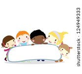 five smiling little children... | Shutterstock .eps vector #124949333