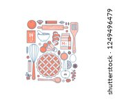 kitchen tools autumn collection.... | Shutterstock .eps vector #1249496479