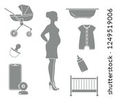 pregnant woman and goods for...   Shutterstock .eps vector #1249519006