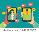 vector concept on online dating ... | Shutterstock .eps vector #1249523569