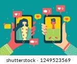 vector concept on online dating ... | Shutterstock .eps vector #1249523569