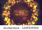 wreath from christmas lights on ... | Shutterstock .eps vector #1249529503