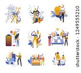 electrician working with...   Shutterstock .eps vector #1249555210