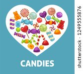 candies and caramel sweets... | Shutterstock .eps vector #1249555876