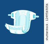 cartoon diaper on a blue... | Shutterstock .eps vector #1249565056