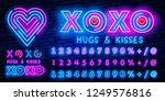 xoxo neon font icon. national... | Shutterstock .eps vector #1249576816