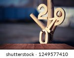 wooden table. in the background ... | Shutterstock . vector #1249577410