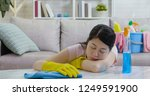 exhausted tired woman in yellow ... | Shutterstock . vector #1249591900