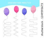 handwriting practice sheet.... | Shutterstock .eps vector #1249593673