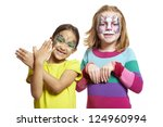 young girls with face painting... | Shutterstock . vector #124960994
