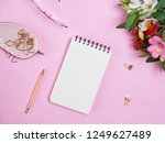 notepad mock up on pink... | Shutterstock . vector #1249627489