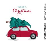 car with xmas tree for... | Shutterstock .eps vector #1249641313