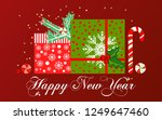 new year card. gifts under the... | Shutterstock .eps vector #1249647460
