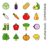 cute vegetable set flat... | Shutterstock .eps vector #1249653646