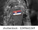 flag of serbia on soldiers arm  ...   Shutterstock . vector #1249661269