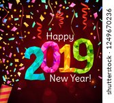 happy new year 2019 greeting... | Shutterstock . vector #1249670236