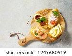 italian antipasti snacks set... | Shutterstock . vector #1249680919