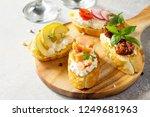 italian antipasti snacks set... | Shutterstock . vector #1249681963