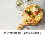 italian antipasti snacks set... | Shutterstock . vector #1249682059